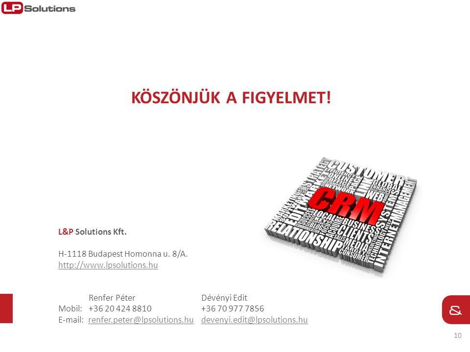 10 KÖSZÖNJÜK A FIGYELMET! L&P Solutions Kft. H-1118 Budapest Homonna u. 8/A. http://www.lpsolutions.hu Renfer Péter Dévényi Edit Mobil: +36 20 424 881