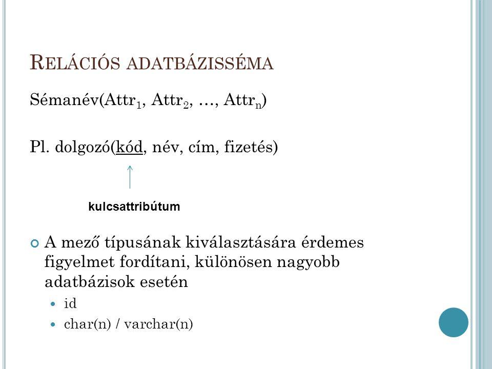 R ELÁCIÓS ADATBÁZISSÉMA Sémanév(Attr 1, Attr 2, …, Attr n ) Pl.