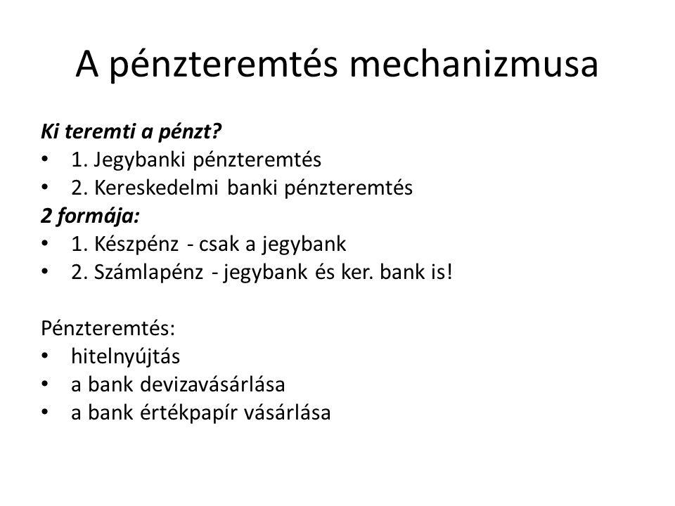A pénzteremtés mechanizmusa Ki teremti a pénzt? • 1. Jegybanki pénzteremtés • 2. Kereskedelmi banki pénzteremtés 2 formája: • 1. Készpénz - csak a jeg