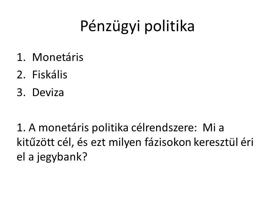 Pénzügyi politika 1.Monetáris 2.Fiskális 3.Deviza 1. A monetáris politika célrendszere: Mi a kitűzött cél, és ezt milyen fázisokon keresztül éri el a