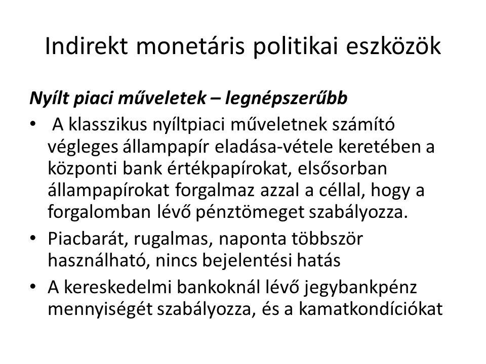 Indirekt monetáris politikai eszközök Nyílt piaci műveletek – legnépszerűbb • A klasszikus nyíltpiaci műveletnek számító végleges állampapír eladása-vétele keretében a központi bank értékpapírokat, elsősorban állampapírokat forgalmaz azzal a céllal, hogy a forgalomban lévő pénztömeget szabályozza.