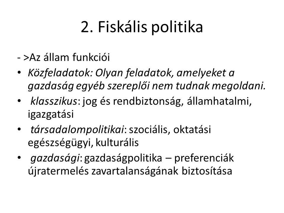 2. Fiskális politika - >Az állam funkciói • Közfeladatok: Olyan feladatok, amelyeket a gazdaság egyéb szereplői nem tudnak megoldani. • klasszikus: jo