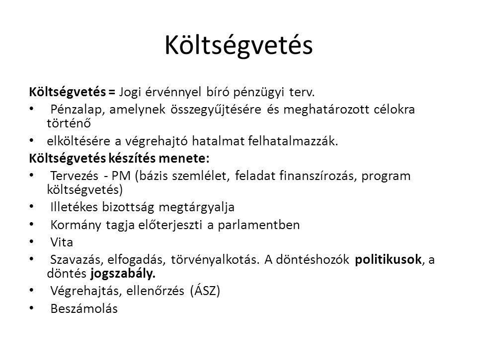 Költségvetés Költségvetés = Jogi érvénnyel bíró pénzügyi terv. • Pénzalap, amelynek összegyűjtésére és meghatározott célokra történő • elköltésére a v