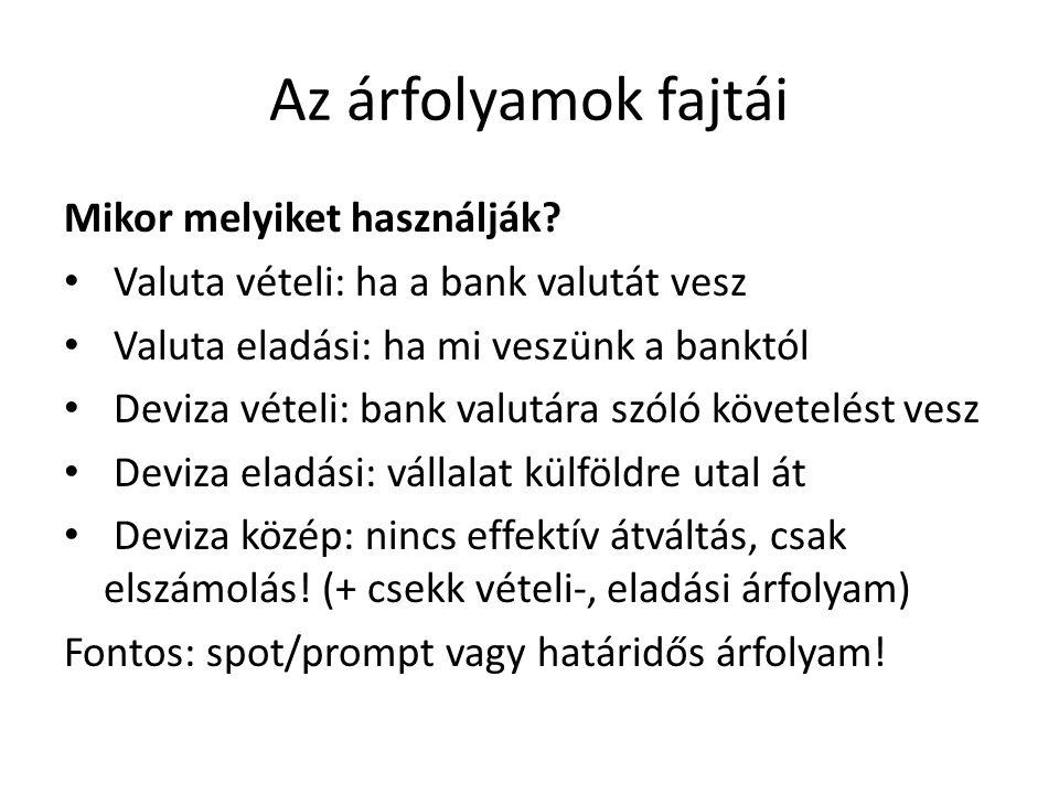 Az árfolyamok fajtái Mikor melyiket használják? • Valuta vételi: ha a bank valutát vesz • Valuta eladási: ha mi veszünk a banktól • Deviza vételi: ban