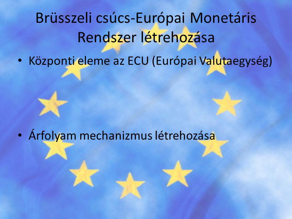 Brüsszeli csúcs-Európai Monetáris Rendszer létrehozása • Központi eleme az ECU (Európai Valutaegység) • Árfolyam mechanizmus létrehozása