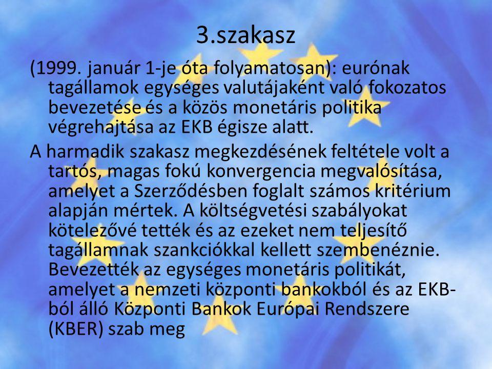 3.szakasz (1999. január 1-je óta folyamatosan): eurónak tagállamok egységes valutájaként való fokozatos bevezetése és a közös monetáris politika végre