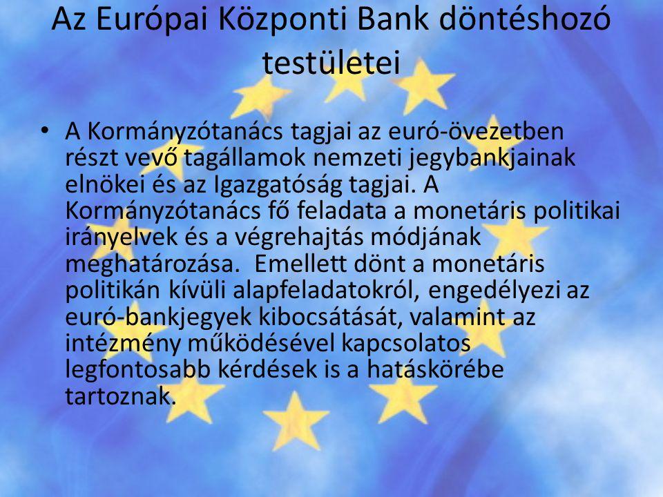 Az Európai Központi Bank döntéshozó testületei • A Kormányzótanács tagjai az euró-övezetben részt vevő tagállamok nemzeti jegybankjainak elnökei és az