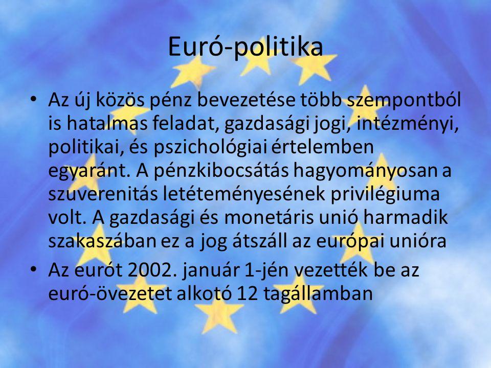 Euró-politika • Az új közös pénz bevezetése több szempontból is hatalmas feladat, gazdasági jogi, intézményi, politikai, és pszichológiai értelemben e