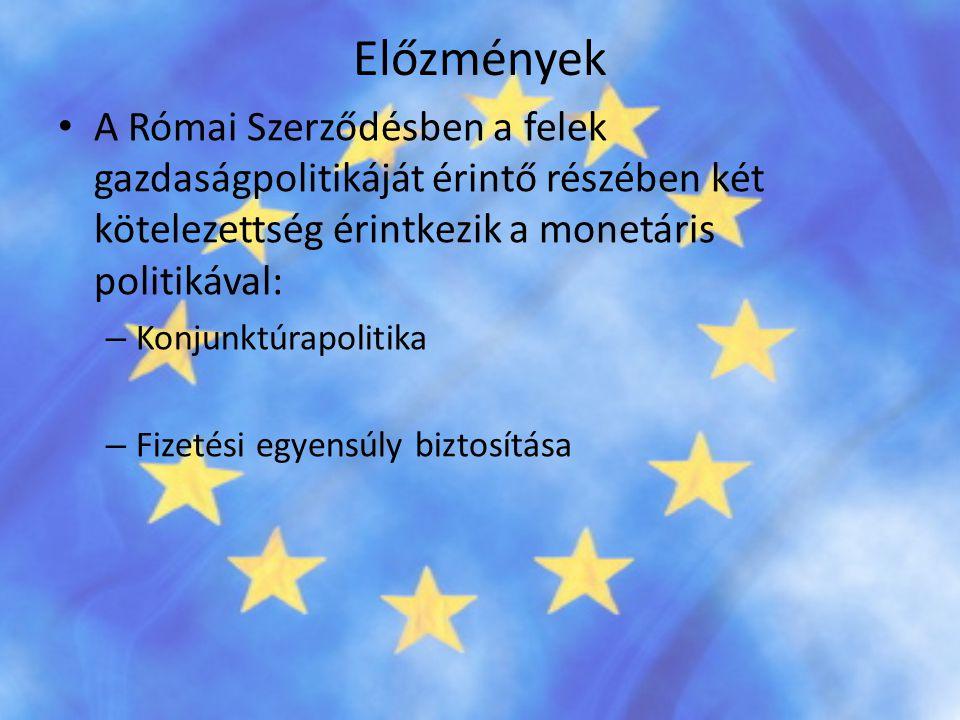 Előzmények • A Római Szerződésben a felek gazdaságpolitikáját érintő részében két kötelezettség érintkezik a monetáris politikával: – Konjunktúrapolit