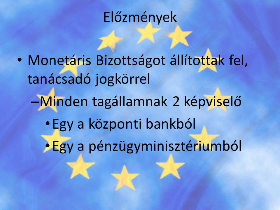 Előzmények • Monetáris Bizottságot állítottak fel, tanácsadó jogkörrel – Minden tagállamnak 2 képviselő • Egy a központi bankból • Egy a pénzügyminisz