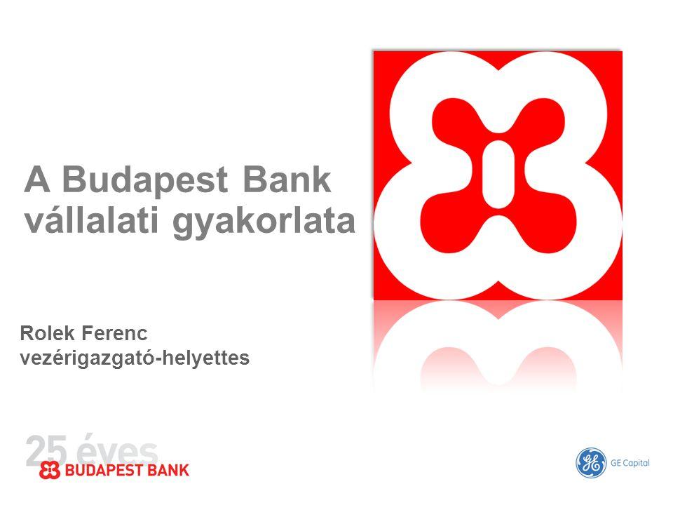 A Budapest Bank vállalati gyakorlata Rolek Ferenc vezérigazgató-helyettes