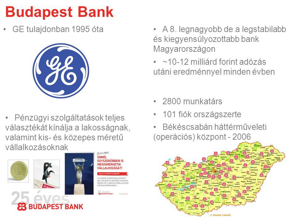 Budapest Bank •GE tulajdonban 1995 óta•A 8. legnagyobb de a legstabilabb és kiegyensúlyozottabb bank Magyarországon •~10-12 milliárd forint adózás utá