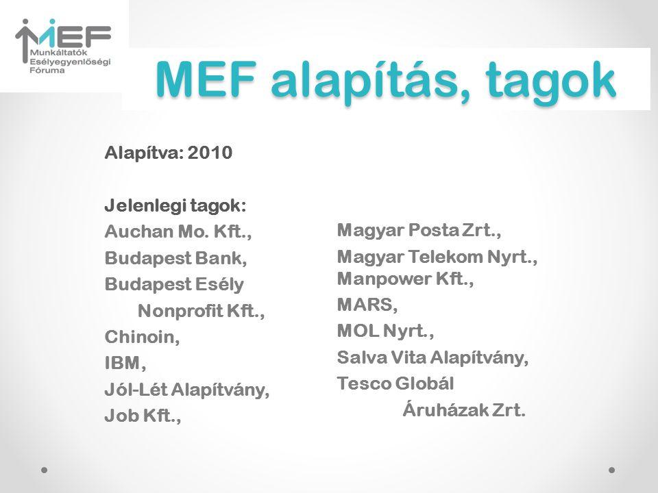 MEF alapítás, tagok Alapítva: 2010 Jelenlegi tagok: Auchan Mo. Kft., Budapest Bank, Budapest Esély Nonprofit Kft., Chinoin, IBM, Jól-Lét Alapítvány, J