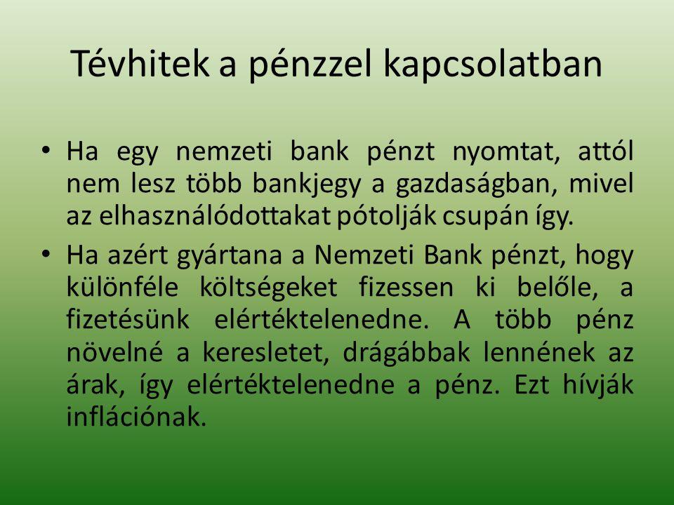 Tévhitek a pénzzel kapcsolatban • Ha egy nemzeti bank pénzt nyomtat, attól nem lesz több bankjegy a gazdaságban, mivel az elhasználódottakat pótolják csupán így.