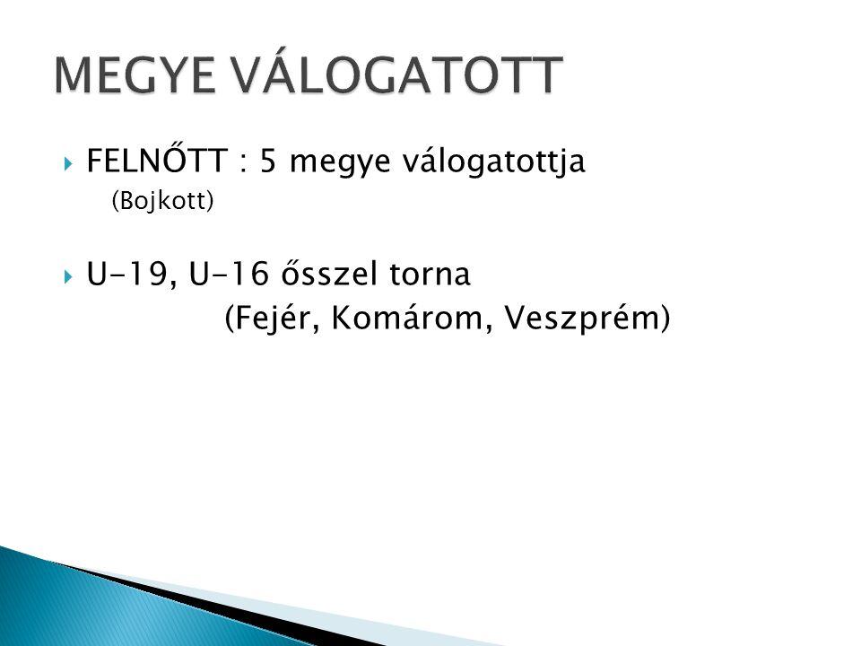  FELNŐTT : 5 megye válogatottja (Bojkott)  U-19, U-16 ősszel torna (Fejér, Komárom, Veszprém)