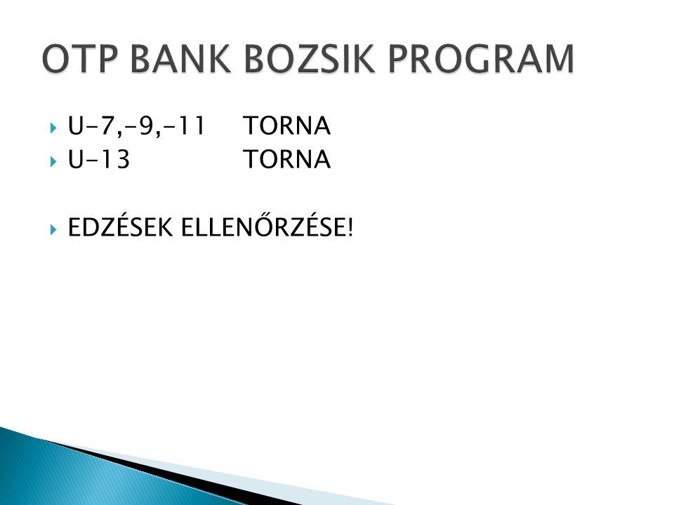  U-7,-9,-11 TORNA  U-13TORNA  EDZÉSEK ELLENŐRZÉSE!