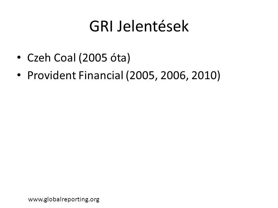 GRI Jelentések • Czeh Coal (2005 óta) • Provident Financial (2005, 2006, 2010) www.globalreporting.org