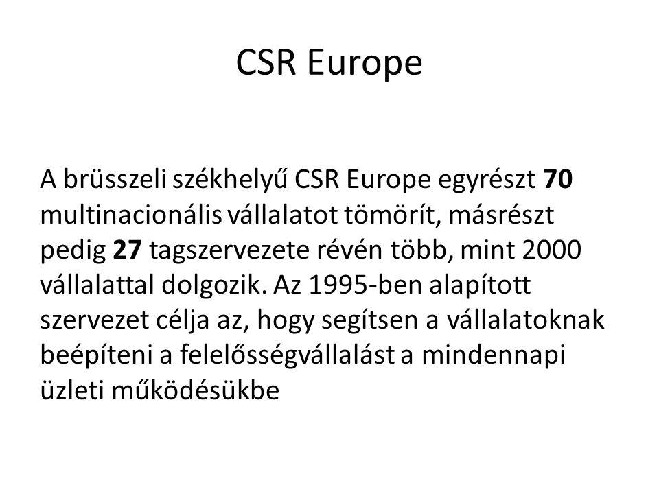 CSR Europe A brüsszeli székhelyű CSR Europe egyrészt 70 multinacionális vállalatot tömörít, másrészt pedig 27 tagszervezete révén több, mint 2000 váll