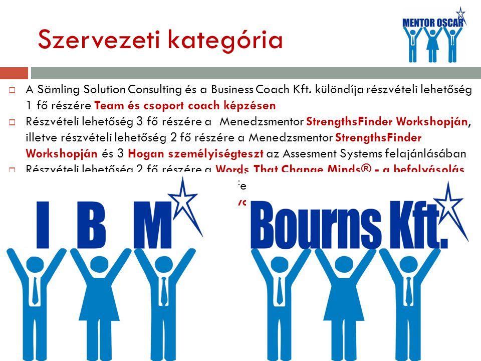 Szervezeti kategória  A Sämling Solution Consulting és a Business Coach Kft.
