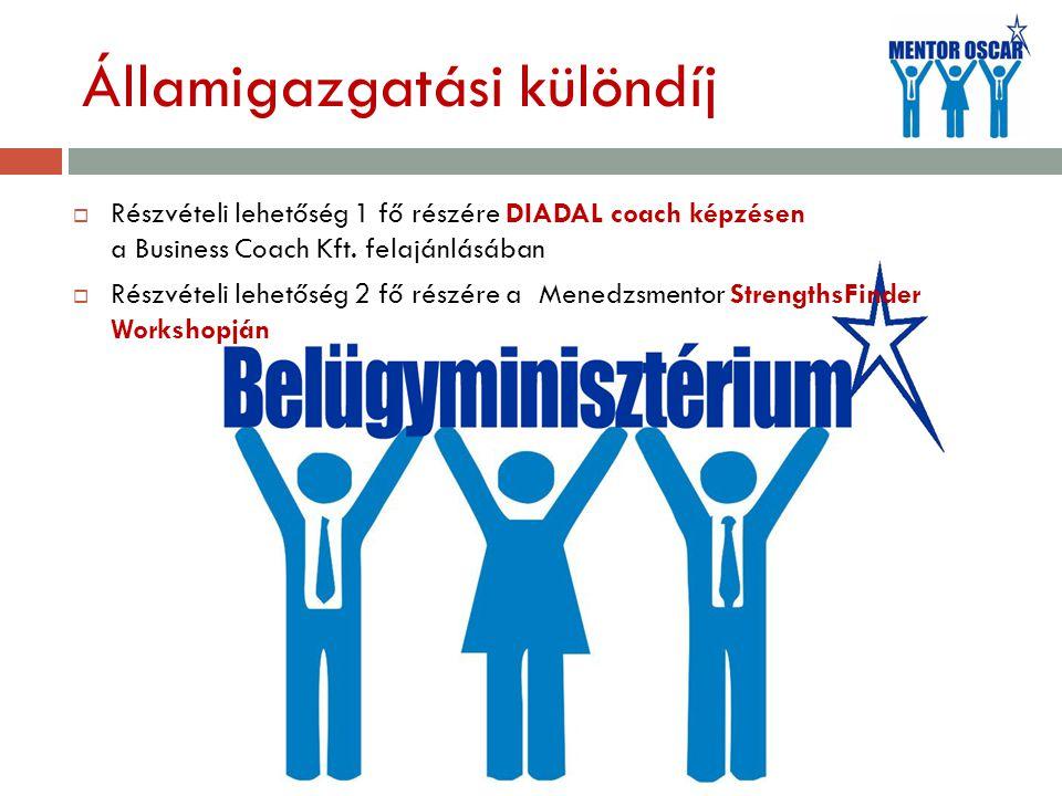Államigazgatási különdíj  Részvételi lehetőség 1 fő részére DIADAL coach képzésen a Business Coach Kft.