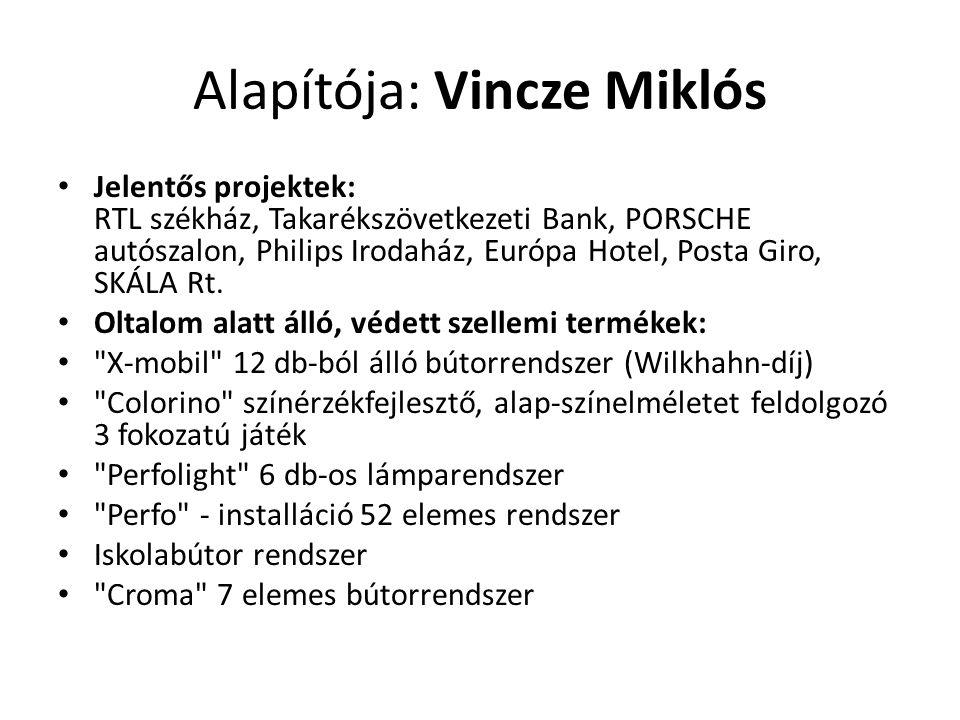 Alapítója: Vincze Miklós • Jelentős projektek: RTL székház, Takarékszövetkezeti Bank, PORSCHE autószalon, Philips Irodaház, Európa Hotel, Posta Giro,