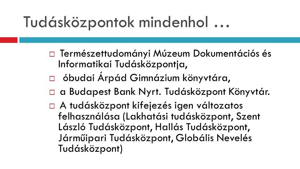 Tudásközpontok mindenhol …  Természettudományi Múzeum Dokumentációs és Informatikai Tudásközpontja,  óbudai Árpád Gimnázium könyvtára,  a Budapest Bank Nyrt.