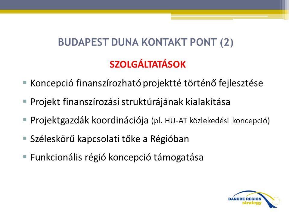 BUDAPEST DUNA KONTAKT PONT (2) SZOLGÁLTATÁSOK  Koncepció finanszírozható projektté történő fejlesztése  Projekt finanszírozási struktúrájának kialakítása  Projektgazdák koordinációja (pl.