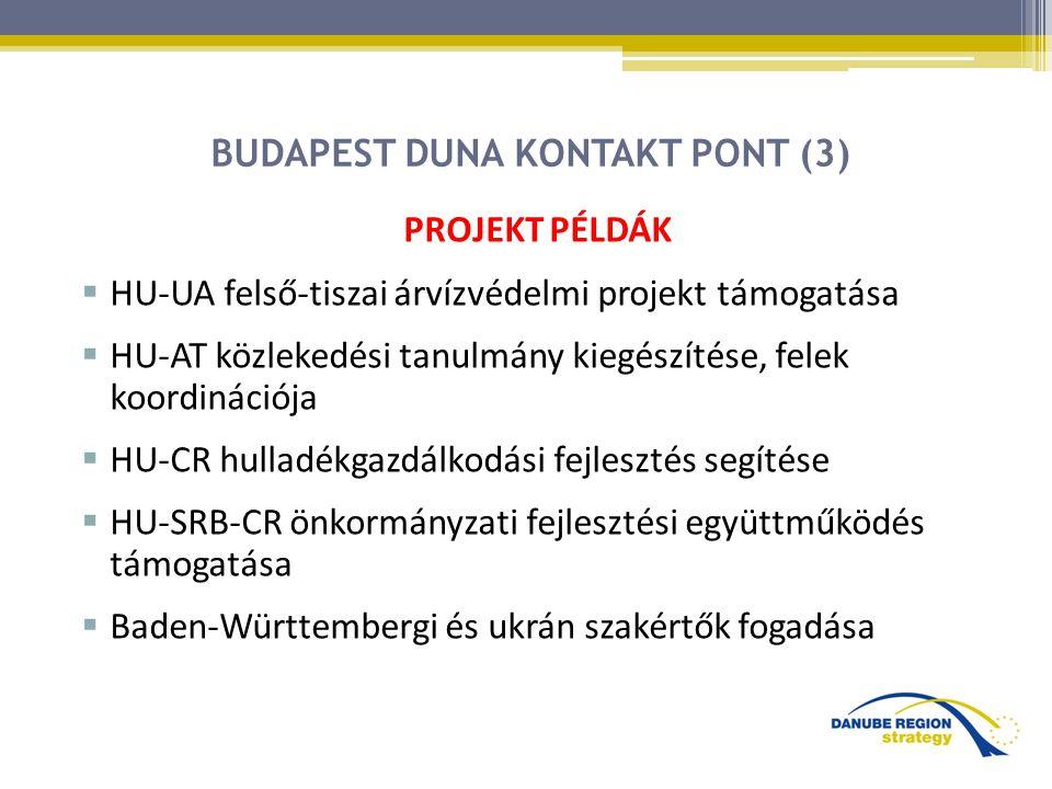 BUDAPEST DUNA KONTAKT PONT (3) PROJEKT PÉLDÁK  HU-UA felső-tiszai árvízvédelmi projekt támogatása  HU-AT közlekedési tanulmány kiegészítése, felek koordinációja  HU-CR hulladékgazdálkodási fejlesztés segítése  HU-SRB-CR önkormányzati fejlesztési együttműködés támogatása  Baden-Württembergi és ukrán szakértők fogadása