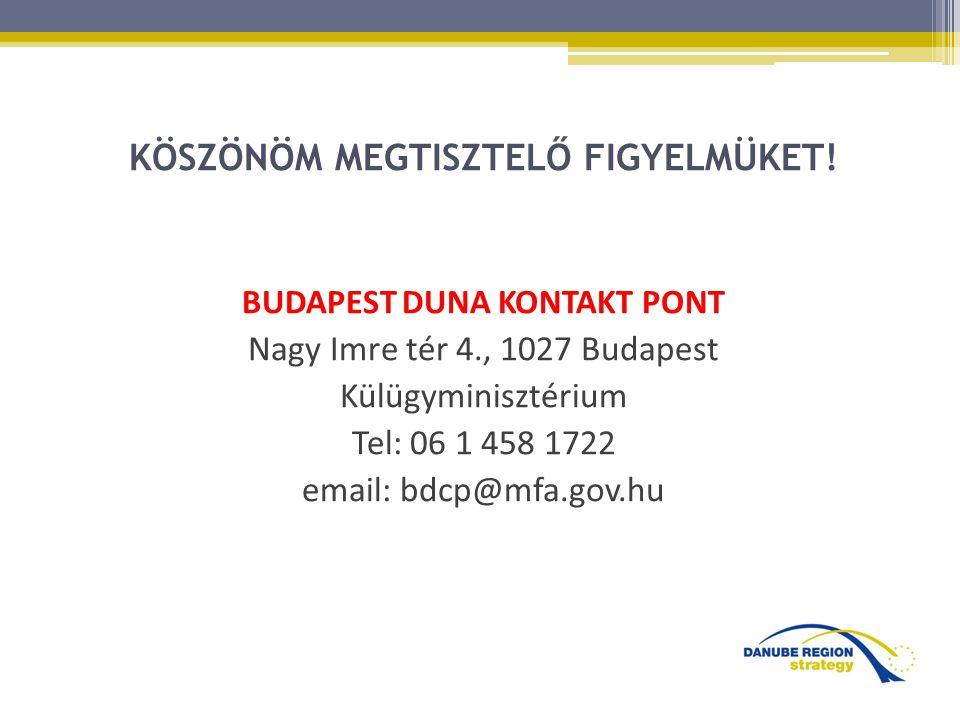 KÖSZÖNÖM MEGTISZTELŐ FIGYELMÜKET! BUDAPEST DUNA KONTAKT PONT Nagy Imre tér 4., 1027 Budapest Külügyminisztérium Tel: 06 1 458 1722 email: bdcp@mfa.gov