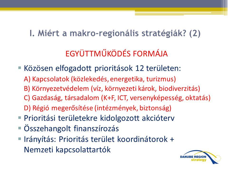 I. Miért a makro-regionális stratégiák? (2) EGYÜTTMŰKÖDÉS FORMÁJA  Közösen elfogadott prioritások 12 területen: A) Kapcsolatok (közlekedés, energetik