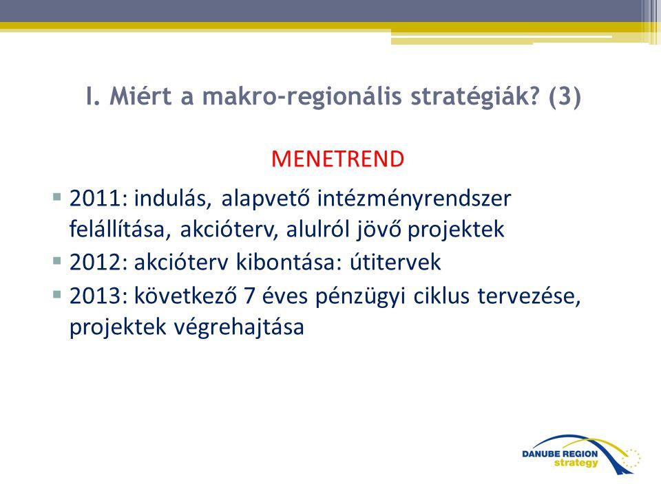 I. Miért a makro-regionális stratégiák? (3) MENETREND  2011: indulás, alapvető intézményrendszer felállítása, akcióterv, alulról jövő projektek  201