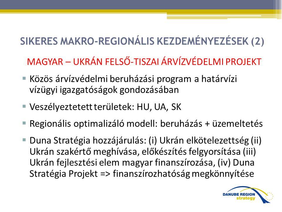 SIKERES MAKRO-REGIONÁLIS KEZDEMÉNYEZÉSEK (2) MAGYAR – UKRÁN FELSŐ-TISZAI ÁRVÍZVÉDELMI PROJEKT  Közös árvízvédelmi beruházási program a határvízi vízügyi igazgatóságok gondozásában  Veszélyeztetett területek: HU, UA, SK  Regionális optimalizáló modell: beruházás + üzemeltetés  Duna Stratégia hozzájárulás: (i) Ukrán elkötelezettség (ii) Ukrán szakértő meghívása, előkészítés felgyorsítása (iii) Ukrán fejlesztési elem magyar finanszírozása, (iv) Duna Stratégia Projekt => finanszírozhatóság megkönnyítése