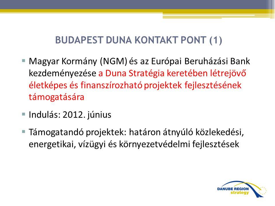 BUDAPEST DUNA KONTAKT PONT (1)  Magyar Kormány (NGM) és az Európai Beruházási Bank kezdeményezése a Duna Stratégia keretében létrejövő életképes és finanszírozható projektek fejlesztésének támogatására  Indulás: 2012.