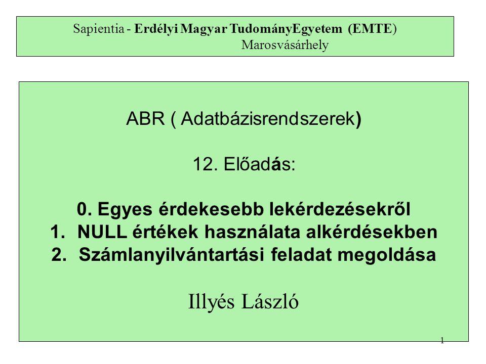 Sapientia - Erdélyi Magyar TudományEgyetem (EMTE) Marosvásárhely ABR ( Adatbázisrendszerek) 12.