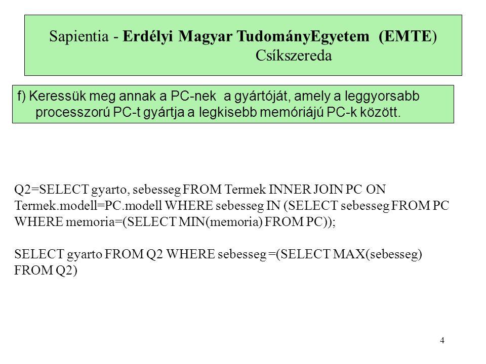 Sapientia - Erdélyi Magyar TudományEgyetem (EMTE) Csíkszereda f) Keressük meg annak a PC-nek a gyártóját, amely a leggyorsabb processzorú PC-t gyártja a legkisebb memóriájú PC-k között.