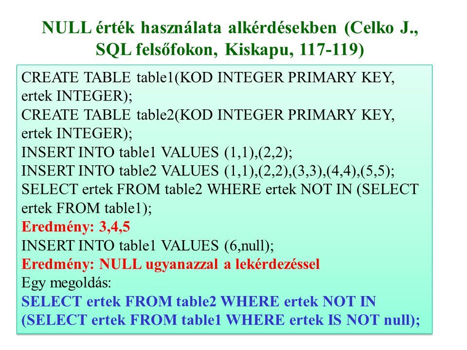 6 CREATE TABLE table1(KOD INTEGER PRIMARY KEY, ertek INTEGER); CREATE TABLE table2(KOD INTEGER PRIMARY KEY, ertek INTEGER); INSERT INTO table1 VALUES (1,1),(2,2); INSERT INTO table2 VALUES (1,1),(2,2),(3,3),(4,4),(5,5); SELECT ertek FROM table2 WHERE ertek NOT IN (SELECT ertek FROM table1); Eredmény: 3,4,5 INSERT INTO table1 VALUES (6,null); Eredmény: NULL ugyanazzal a lekérdezéssel Egy megoldás: SELECT ertek FROM table2 WHERE ertek NOT IN (SELECT ertek FROM table1 WHERE ertek IS NOT null); CREATE TABLE table1(KOD INTEGER PRIMARY KEY, ertek INTEGER); CREATE TABLE table2(KOD INTEGER PRIMARY KEY, ertek INTEGER); INSERT INTO table1 VALUES (1,1),(2,2); INSERT INTO table2 VALUES (1,1),(2,2),(3,3),(4,4),(5,5); SELECT ertek FROM table2 WHERE ertek NOT IN (SELECT ertek FROM table1); Eredmény: 3,4,5 INSERT INTO table1 VALUES (6,null); Eredmény: NULL ugyanazzal a lekérdezéssel Egy megoldás: SELECT ertek FROM table2 WHERE ertek NOT IN (SELECT ertek FROM table1 WHERE ertek IS NOT null); NULL érték használata alkérdésekben (Celko J., SQL felsőfokon, Kiskapu, 117-119)