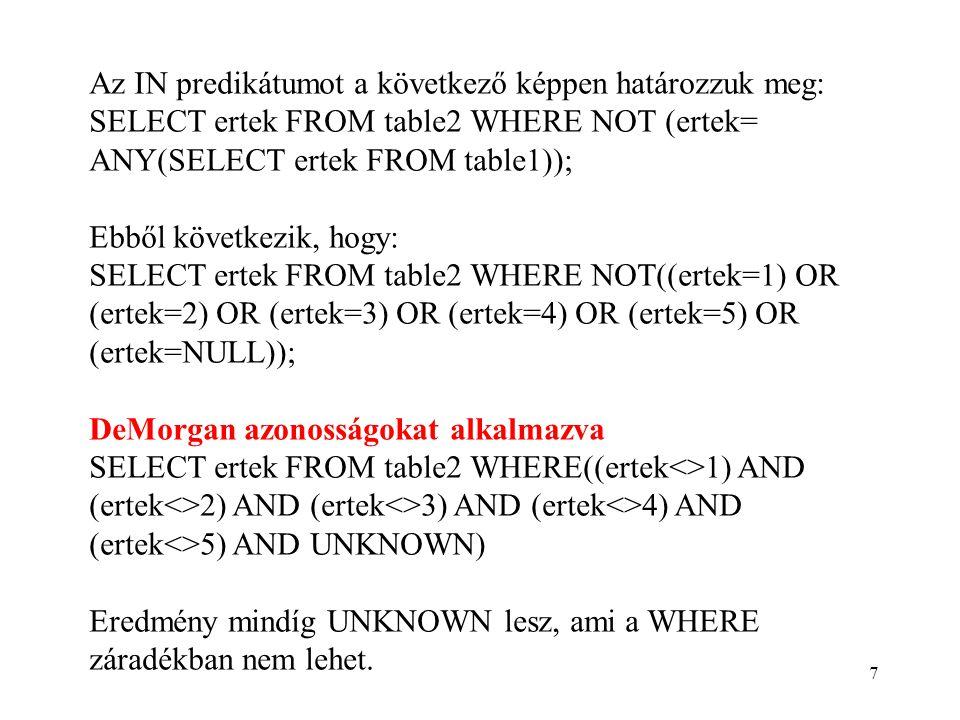 7 Az IN predikátumot a következő képpen határozzuk meg: SELECT ertek FROM table2 WHERE NOT (ertek= ANY(SELECT ertek FROM table1)); Ebből következik, hogy: SELECT ertek FROM table2 WHERE NOT((ertek=1) OR (ertek=2) OR (ertek=3) OR (ertek=4) OR (ertek=5) OR (ertek=NULL)); DeMorgan azonosságokat alkalmazva SELECT ertek FROM table2 WHERE((ertek<>1) AND (ertek<>2) AND (ertek<>3) AND (ertek<>4) AND (ertek<>5) AND UNKNOWN) Eredmény mindíg UNKNOWN lesz, ami a WHERE záradékban nem lehet.