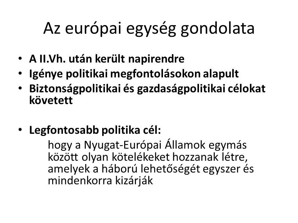 Az európai egység gondolata • A II.Vh. után került napirendre • Igénye politikai megfontolásokon alapult • Biztonságpolitikai és gazdaságpolitikai cél