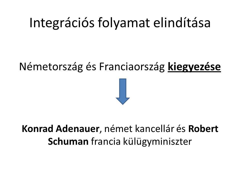 Integrációs folyamat elindítása Németország és Franciaország kiegyezése Konrad Adenauer, német kancellár és Robert Schuman francia külügyminiszter