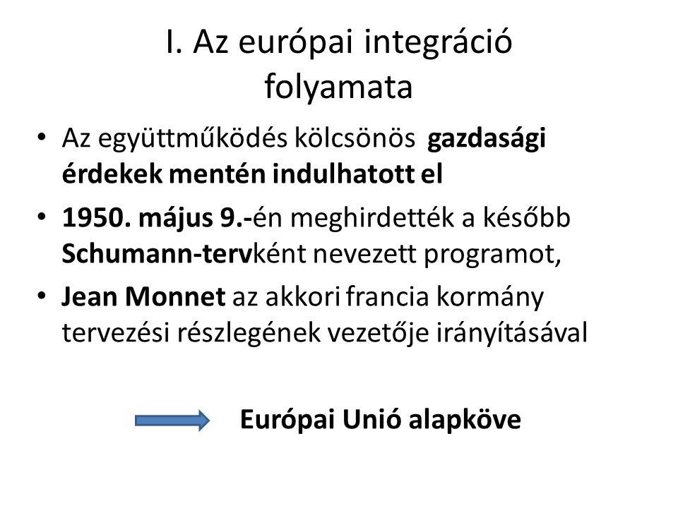 I. Az európai integráció folyamata • Az együttműködés kölcsönös gazdasági érdekek mentén indulhatott el • 1950. május 9.-én meghirdették a később Schu