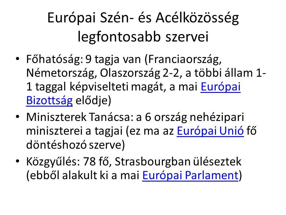 Európai Szén- és Acélközösség legfontosabb szervei • Főhatóság: 9 tagja van (Franciaország, Németország, Olaszország 2-2, a többi állam 1- 1 taggal ké