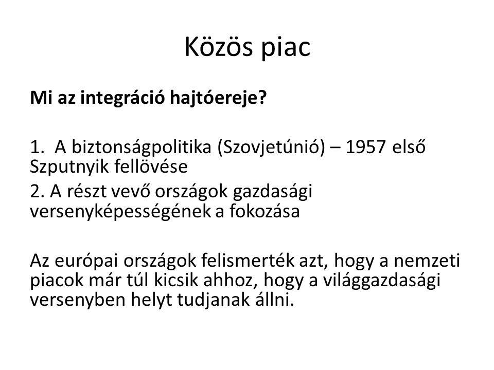 Közös piac Mi az integráció hajtóereje? 1. A biztonságpolitika (Szovjetúnió) – 1957 első Szputnyik fellövése 2. A részt vevő országok gazdasági versen