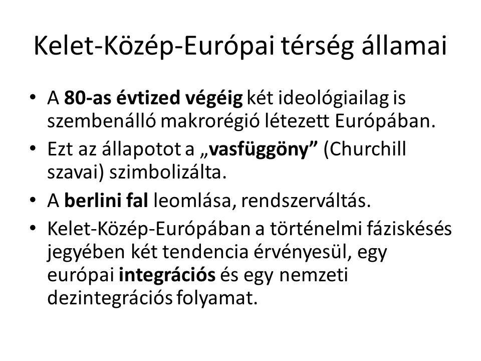 """Kelet-Közép-Európai térség államai • A 80-as évtized végéig két ideológiailag is szembenálló makrorégió létezett Európában. • Ezt az állapotot a """"vasf"""