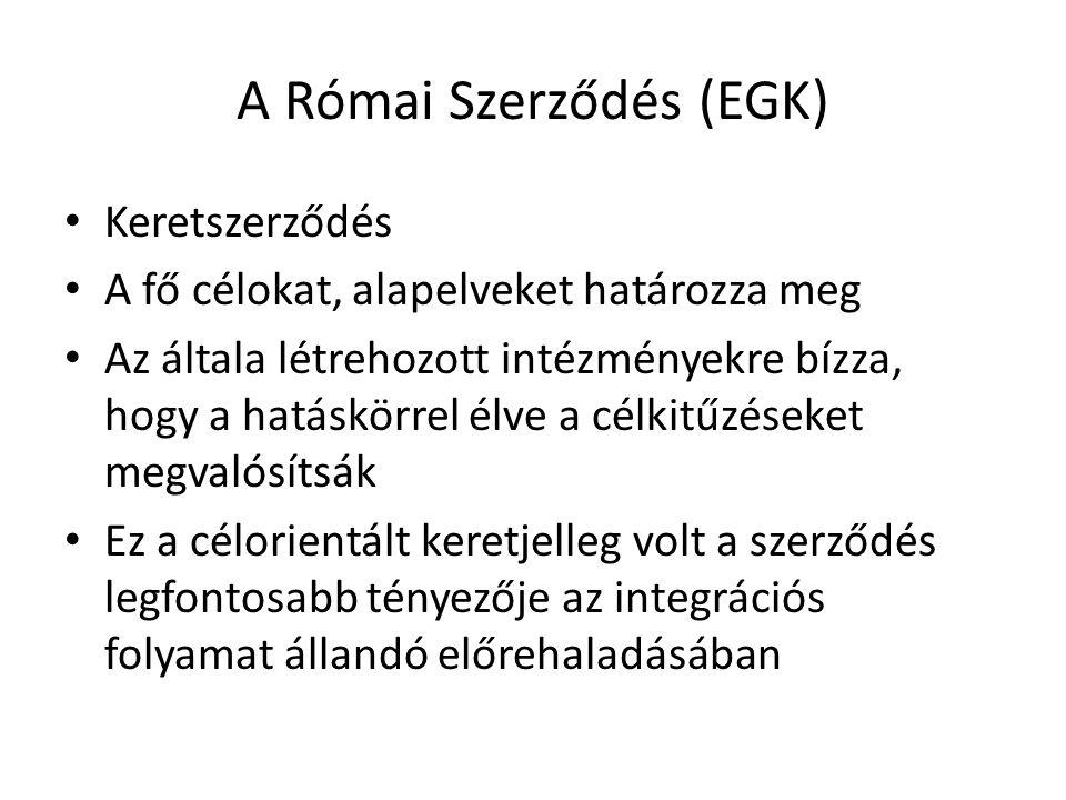 A Római Szerződés (EGK) • Keretszerződés • A fő célokat, alapelveket határozza meg • Az általa létrehozott intézményekre bízza, hogy a hatáskörrel élv