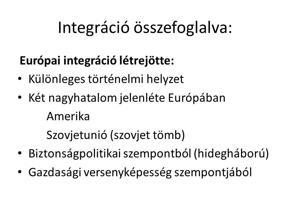 Integráció összefoglalva: Európai integráció létrejötte: • Különleges történelmi helyzet • Két nagyhatalom jelenléte Európában Amerika Szovjetunió (sz