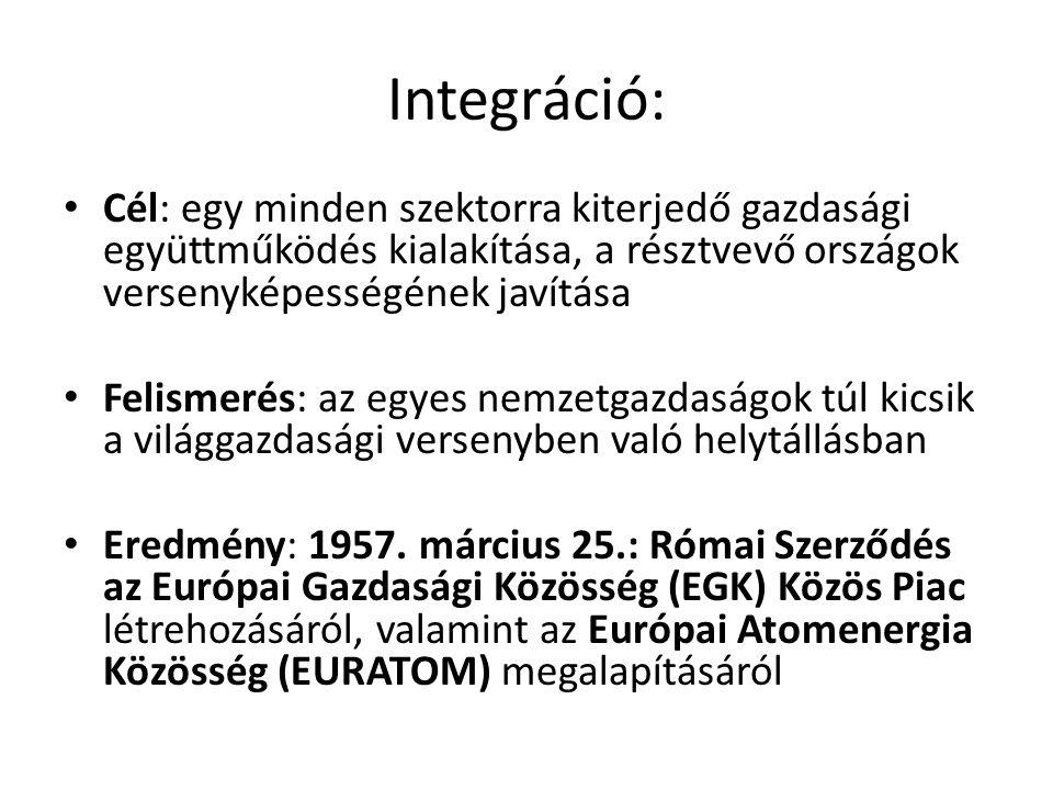 Integráció: • Cél: egy minden szektorra kiterjedő gazdasági együttműködés kialakítása, a résztvevő országok versenyképességének javítása • Felismerés: