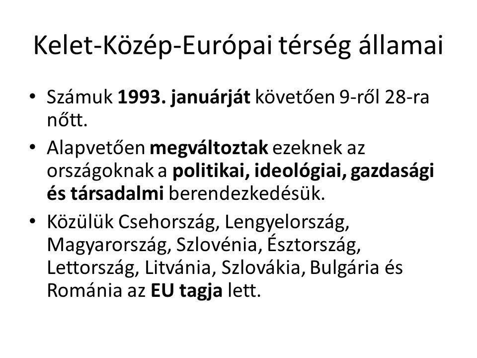 Kelet-Közép-Európai térség államai • Számuk 1993. januárját követően 9-ről 28-ra nőtt. • Alapvetően megváltoztak ezeknek az országoknak a politikai, i