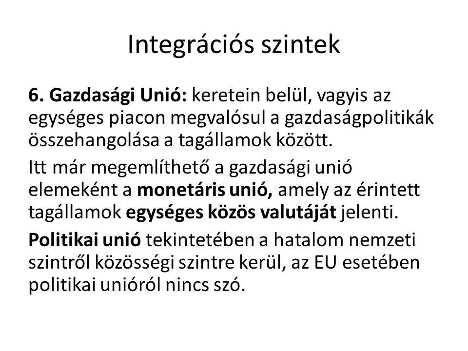 Integrációs szintek 6. Gazdasági Unió: keretein belül, vagyis az egységes piacon megvalósul a gazdaságpolitikák összehangolása a tagállamok között. It