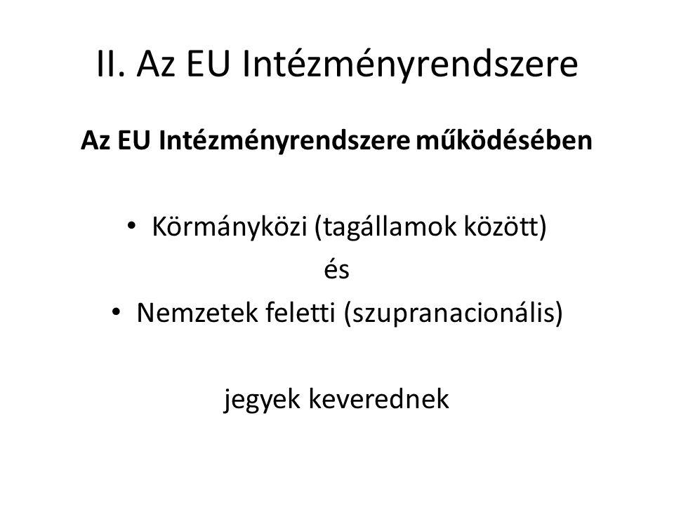 II. Az EU Intézményrendszere Az EU Intézményrendszere működésében • Körmányközi (tagállamok között) és • Nemzetek feletti (szupranacionális) jegyek ke