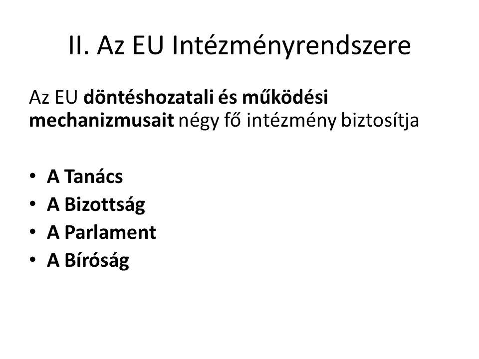 II. Az EU Intézményrendszere Az EU döntéshozatali és működési mechanizmusait négy fő intézmény biztosítja • A Tanács • A Bizottság • A Parlament • A B